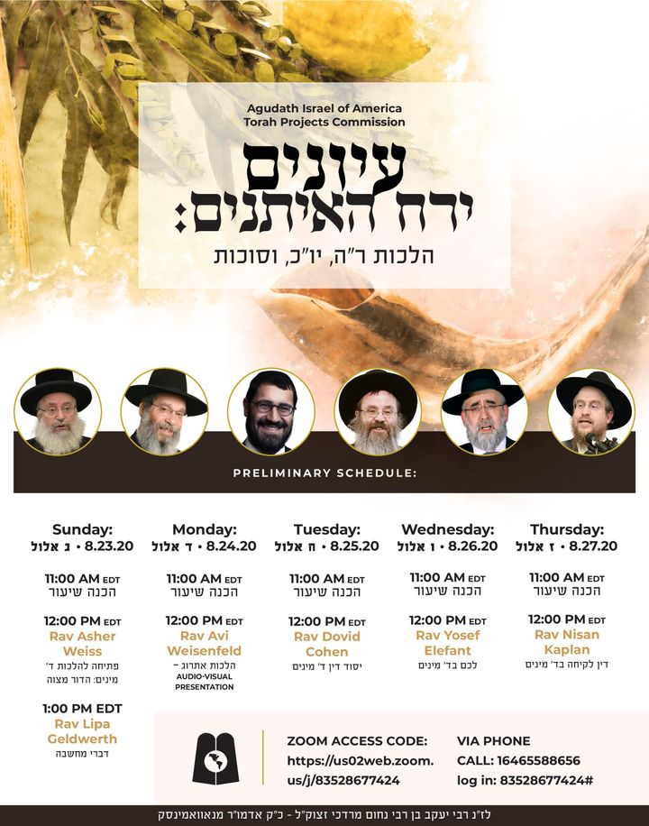 Agudath Israel's Torah Projects is Proud to Present Yerach Ha'eysonim: A Virtual Yarchei Kallah Program for Hilchos Rosh Hashana, Yom Kippur, and Sukkos 1